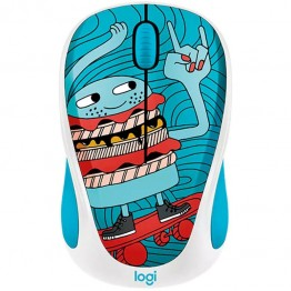 Mouse wireless Logitech M238 Doodle Collection , Fara Fir , Optic , 1000 DPI , Skateburger
